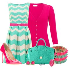 Easter origami owl, mint green, color combos, outfit, the dress, color combinations, shoe, bright colors, chevron dress