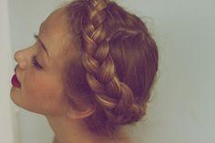 . french braids, crown, long hair, plait, longer hair, red lips, girl hairstyles, hair style, braid hair