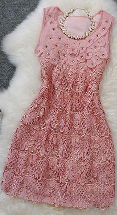 Sweet temperament Slim lace dress
