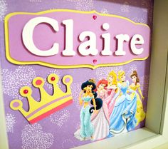 Disney Princess - Personalized Room Decor - 6 Different Backgrounds - Children's, Kids's, Girl's Room Art. $35.00, via Etsy.