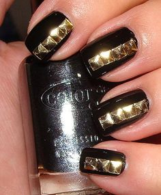 Patent Leather and Gold Studs Manicure