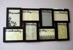 Dry Erase Frame Weekly Calendar. $39.95, via Etsy.