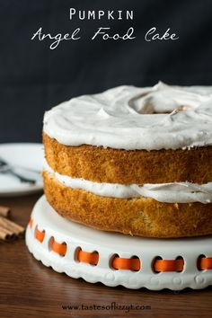 Pumpkin Angel Food Cake 1 angel food cake mix 1 tbs all-purpose flour  1 1/2 tsp pumpkin pie spice 3/4 C canned pumpkin 1 C cold water 12 oz Cool Whip 1 1/2 tsp pumpkin pie spice 1/2 C powdered sugar