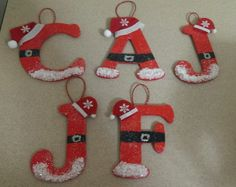 •❈• Christmas ornaments, make one for each family member, so cute!  :-)  inspiration