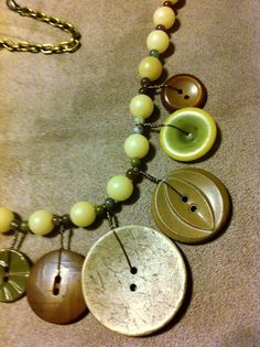 Necklace of Vintage1940s Olive Green Bakelite by LilyHillVintage, $39.00