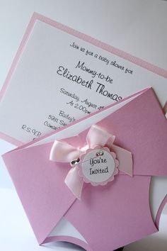 Diaper Theme - Baby Shower Invitation - Pink - Girl - Personalize - Custom - Place Card - Table Number - Thank You Cards