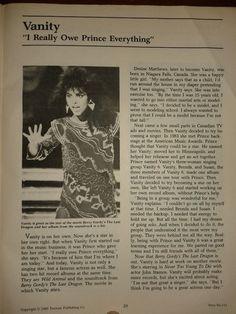 """1985 article """"I Really owe Prince Everything"""" #DeniseMatthews"""