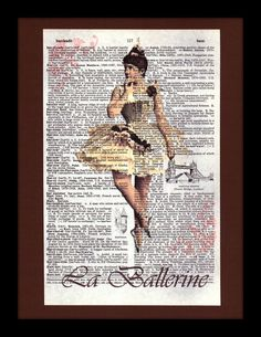 Shabby Chic French Ballerina on Antique Dictionary Page - Shabby Chic - Home Decor - Girl - Vintage Ballet - Nursery - Children. $10.00, via Etsy.