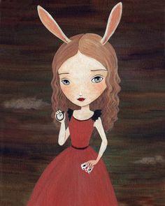 Alice In Wonderland Art, Children's Art, Girls Room Art, Poster, Children's Decor, Girl Art Print, Art for Kids - White Rabbit 8x10 Print. $10.00, via Etsy.