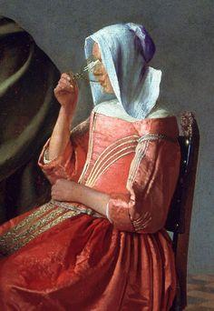 """The Glass of Wine"" (detail), c.1661, Johannes Vermeer."