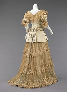 Evening Dress (back view) 1895, French, Made of silk