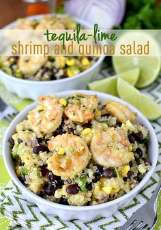 Tequila-Lime Shrimp and Quinoa Salad is healthy, fresh, and popping with the bold flavors of tequila and lime. | iowagirleats.com
