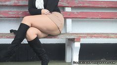 British milf Daniella flashing her sexy nylon clad arse cheeks, thighs and legs in public wearing tan seamed pantyhose tights and black high boots. Women in pantyhose videos.