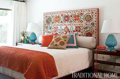 Suzani headboard. Traditional Home magazine/Michael Garland