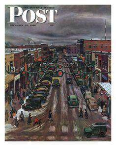 """Falls City, Nebraska at Christmas"" By John Falter. Issue: December 21, 1946. ©SEPS. Giclee print available at Art.com."