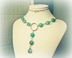 Amazonite V shape gemstone necklace for sale | RitaSunderland.com