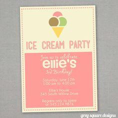 Image of Ice Cream Birthday Invitation