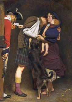 Sir John Everett Millais, Bt 'The Order of Release 1746' 1852-3.        Bonnie Prince Charlie (1720-1788) was defeated by the Hanoverians at Culloden on 16 April 1746 and many of his supporters were imprisoned. The subject of this picture is the release of one of these Jacobite rebels from prison. Millais appears to have invented the incident, but may also have been inspired by the novels of Sir Walter Scott. Millais served in The Artists Rifles.
