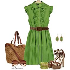 """Green Chiffon"" by archimedes16 on Polyvore"