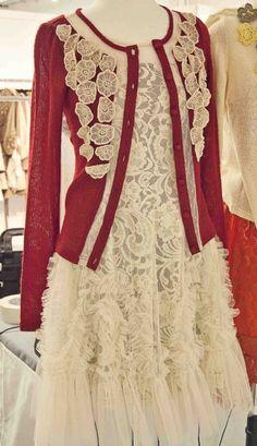 Women's Holiday Lace Dress Cardigan