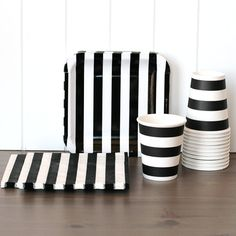 Rugby Stripe Tableware Set - Black from The TomKat Studio Shop www.shoptomkat.com