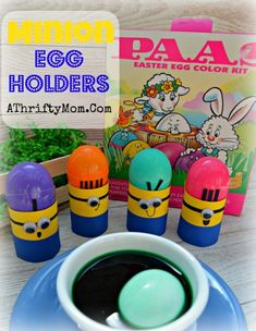 Minion Egg Holder, Easter Minions to hold your Easter Eggs. Kids Craft Quick and Easy.  The kids will love making and using these.