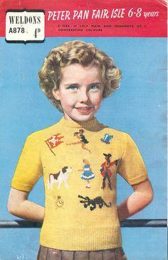 1940's intarsia knit, knit wit, vintag knit, knit inspir, knit children
