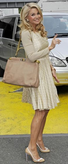 Kate Spade dress (own). Need: beige sweater, blond hair, gold bangles.