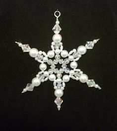 Snowflake Ornament - White Pearl and Clear AB  - Christmas Ornaments - Beaded Ornaments - Holiday Decorations. $4.50, via Etsy. #beads #craffs #ecrafty eCrafty.com