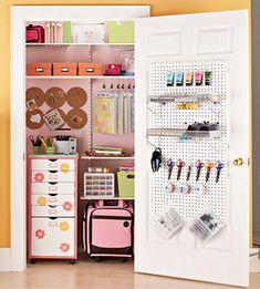 the doors, craft space, closet doors, room organization, closet organization, craft organization, small spaces, space crafts, craft rooms