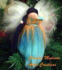 Fada de Natal, Lã de Merino, Felting de merino, de natal, fada de, art decorativa