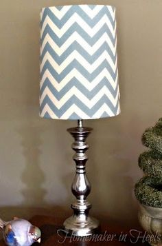 "Homemaker in Heels: Chevron & ""Mercury Glass"" Lamp Makeover"