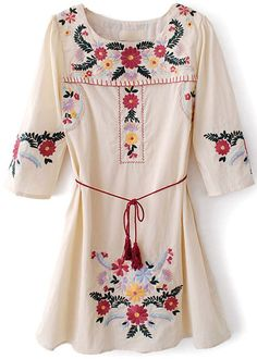 loos dress, cowboy boots, tunic, sleev embroideri, embroideri belt, flower dresses, half sleev, the dress, floral dresses