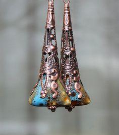 Blue Green Ceramic Earrings  Dangle Earrings  by LeBouiBouiaBouBou, $18.00