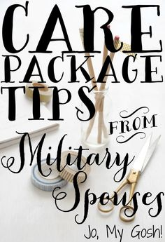 Tried and true care package tips from real military spouses-- how to keep costs under control, things to send, how to package cookies and cupcakes... great stuff!  #milso #milspouse #military #carepackage #deployment