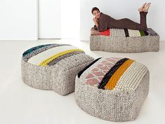Mangas Poufs by Patricia Urquiola  Designed ... for Gan Rugs, the Mangas Collection features rugs, runners and poufs made from 100% wool ... in India ... from a patchwork of different design wool knits which create unique textured designs in different colorways/sizes