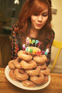 Birthday donut tower...crack me up!