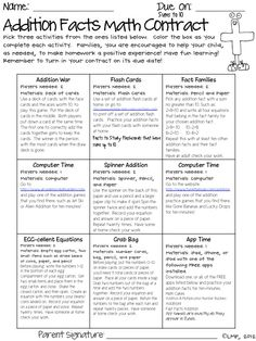 Math Facts Contract--doing this for multiplication facts!