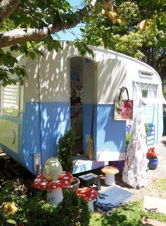 Sweet vintage camper in the garden