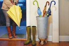 love this homemade umbrella stand!