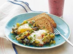 "Zucchini ""Hash Browns"" and Eggs with Berry-Nana Smoothie #myplate #letsmove #fruit #protein #grains #veggies"
