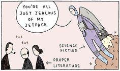 tom gauld, jetpack, funni, scifi, book, proper literatur, science fiction, scienc fiction, sci fi