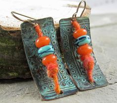 Fiber Glass and Metalwork Earrings Orange by LindaLandigJewelry