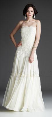 Mignon White Collection - White Lace Strapless Wedding  Gown think beach or garden wedding.