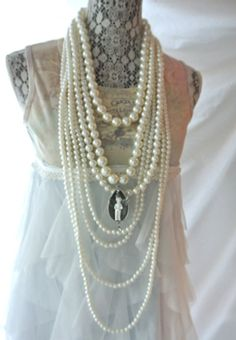 Christmas SALE Pearl necklace Gypsy cowgirl by TrueRebelClothing, $60.00