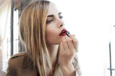 Get up, put on lipstick, take on the world! highlighted hair, hair colors, burberry, putting on lipstick, red lips, lip colors, cara delevingne, beauti, velvet