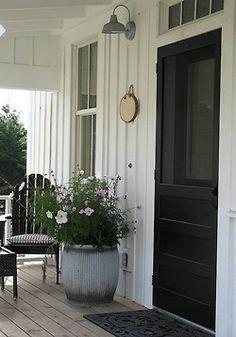 cottag, black doors, white, front doors, hous, planters, barrel, screen doors, front porches