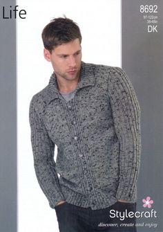 crochet inspir, knit idea, patterns, knit garment, cardigan, stylecraft, knit inspir, men knit, knit pattern