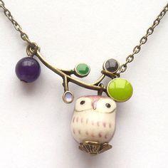 purple owl necklace