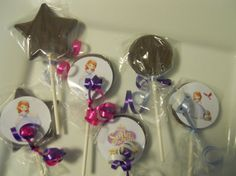 12 Disney Sofia the First 1st 2nd 3rd 4th  Birthday Party favor Gourmet Chocolate Lollipops